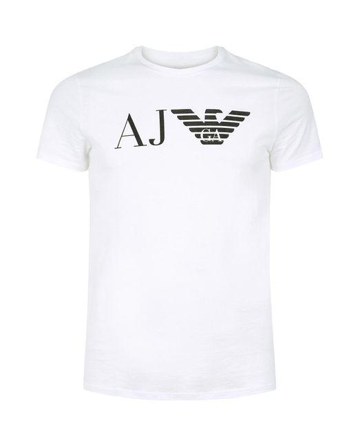Armani Jeans - White Regular Fit Aj Eagle Logo Printed T Shirt for Men - Lyst