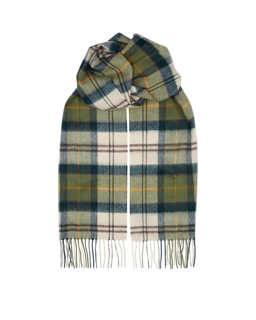 Barbour Green Tartan Wool Blend Scarf