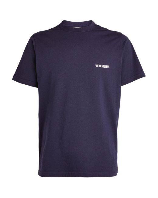 Vetements Blue Logo T-shirt for men