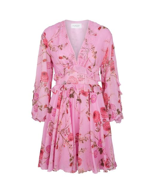 Giambattista Valli Pink Floral Ruffle Dress
