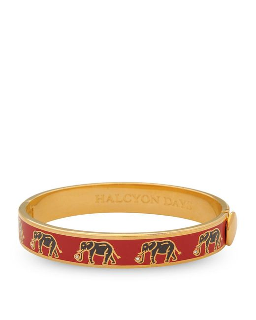 Halcyon Days Red Gold-plated Elephant Bangle