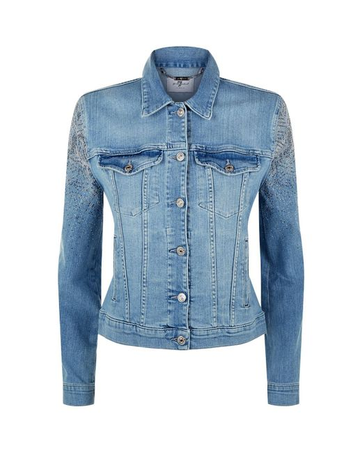 7 For All Mankind - Blue Modern Trucker Denim Jacket - Lyst