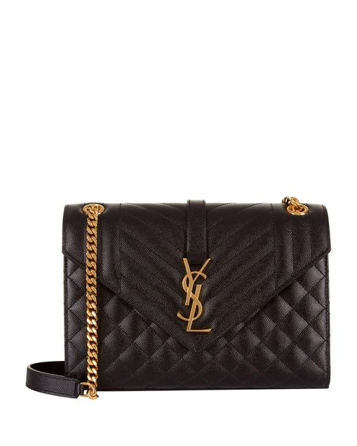 Saint Laurent Black Medium Monogram Envelope Shoulder Bag
