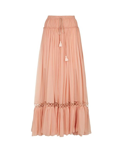 chlo 233 pleated silk crepe maxi skirt in pink lyst