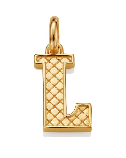 Monica Vinader | Metallic Gold Quilted Capital L Pendant | Lyst
