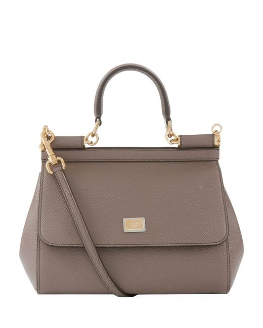 Dolce & Gabbana Brown Small Leather Sicily Bag
