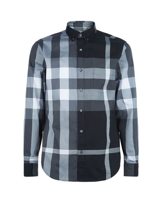 Burberry | Blue Trim Fit Check Pattern Sport Shirt for Men | Lyst
