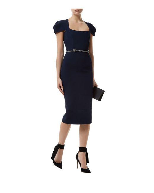roland mouret galaxy embellished belt pencil dress in