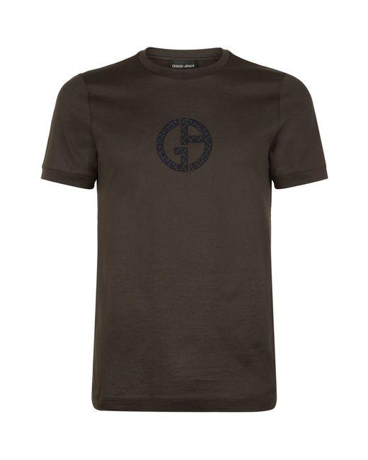 Giorgio Armani Embroidered Logo T Shirt In Black For Men
