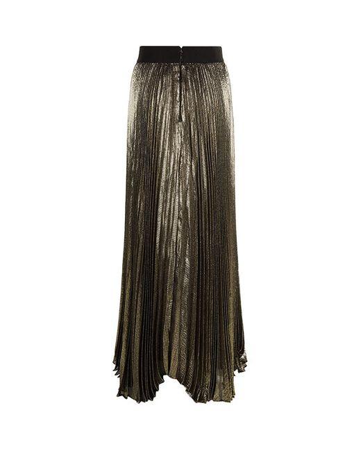 metallic pleated maxi skirt in multicolor