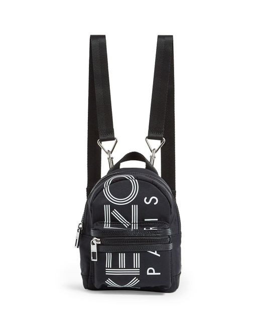 KENZO Black Mini Logo Backpack for men