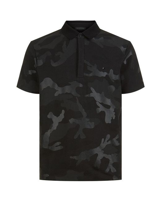 Valentino Camouflage Polo T Shirt In Black For Men Lyst