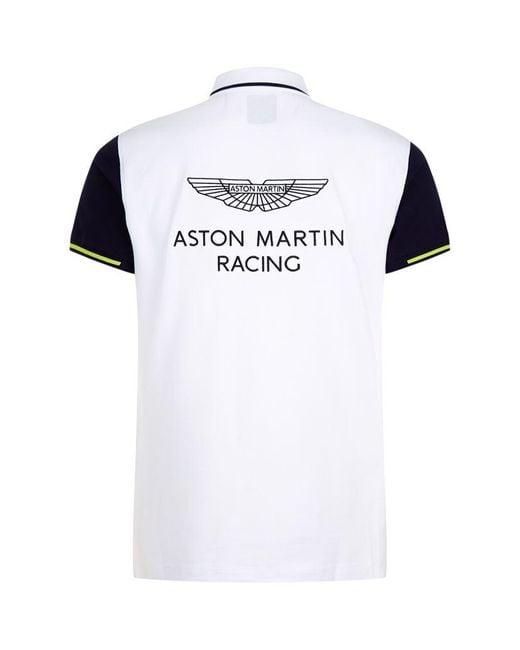 hackett aston martin logo polo shirt in white for men lyst. Black Bedroom Furniture Sets. Home Design Ideas
