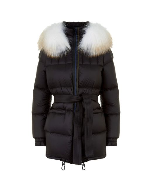 Mr & Mrs Italy - Black Belted Fur Trim Down Coat - Lyst