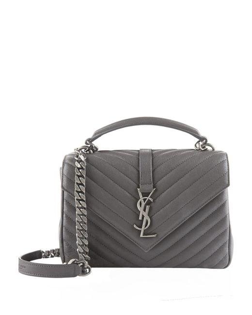 Saint Laurent Gray Medium Leather Matellas Collge Shoulder Bag