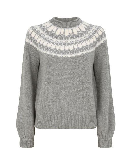 J Brand Gray Harriet Fair Isle Sweater