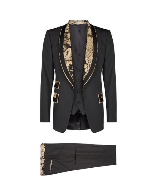 Dolce & Gabbana Black Brocade Trim Three-piece Suit for men