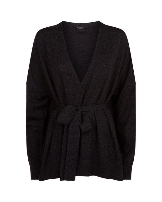 AllSaints | Black Inaya Wrap Cardigan | Lyst