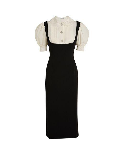 Alessandra Rich Black Blouse-detail Midi Dress