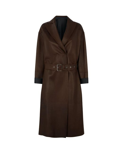 Brunello Cucinelli Brown Leather Long Coat