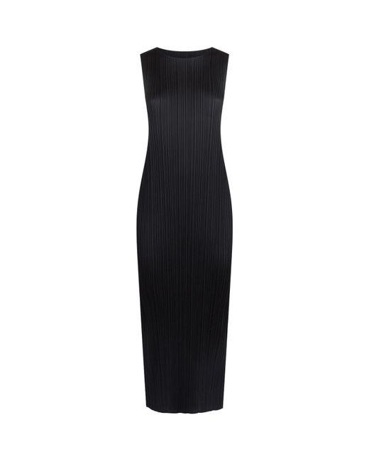 Pleats Please Issey Miyake - Black Sleeveless Pleated Midi Dress - Lyst