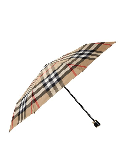 Burberry | Brown Check Folding Umbrella | Lyst
