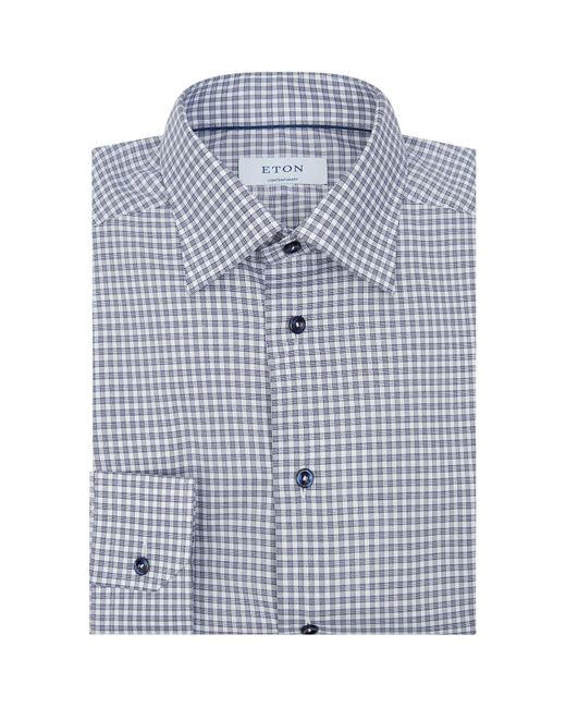 Eton of Sweden Blue Contemporary-fit Cotton Twill Shirt for men