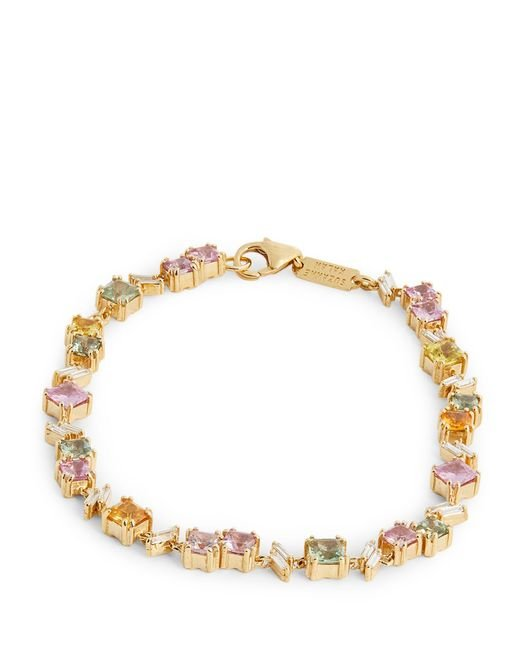Suzanne Kalan Metallic Yellow Gold, Diamond And Sapphire One Of A Kind Tennis Bracelet