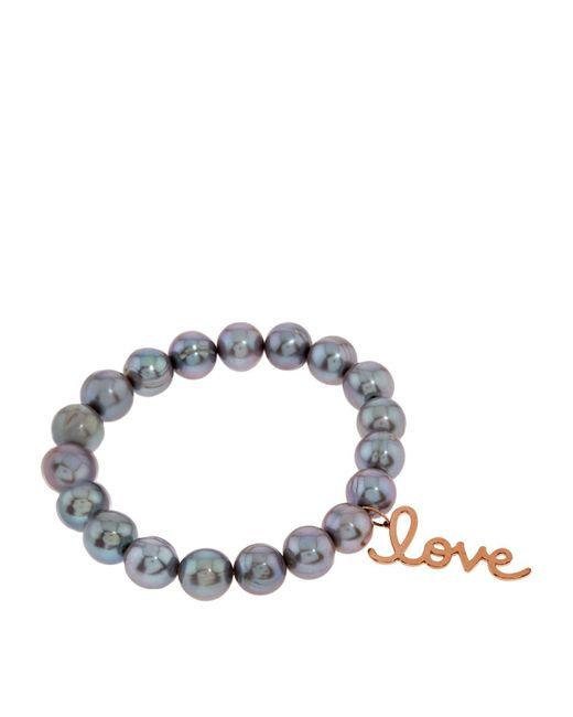 Sydney Evan | Gray Rose Gold Love Charm Bead Bracelet | Lyst