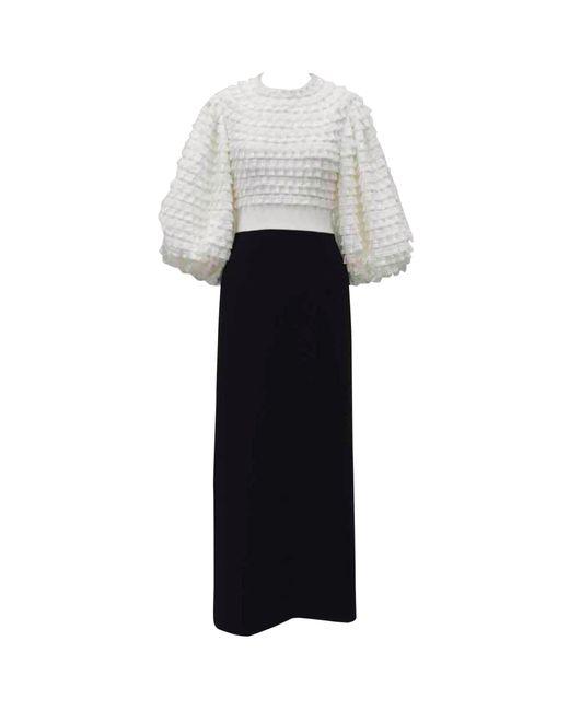 Huishan Zhang White Colette Puff-sleeved Dress