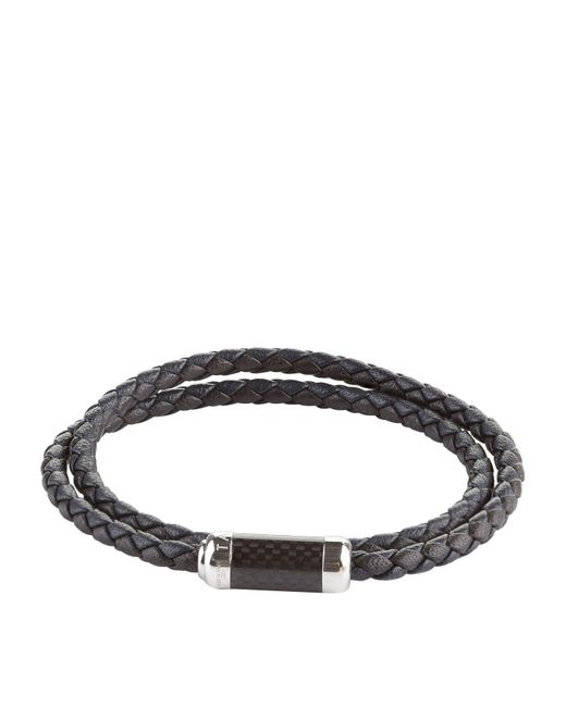 Tateossian Black Leather Wrap Bracelet for men