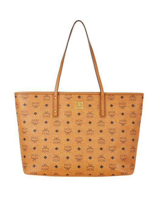 MCM - Brown Anya Top Zip Shopper Medium Cognac - Lyst