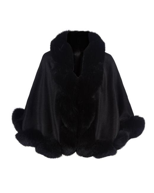 Harrods - Black Cropped Fox Fur Trim Cape - Lyst