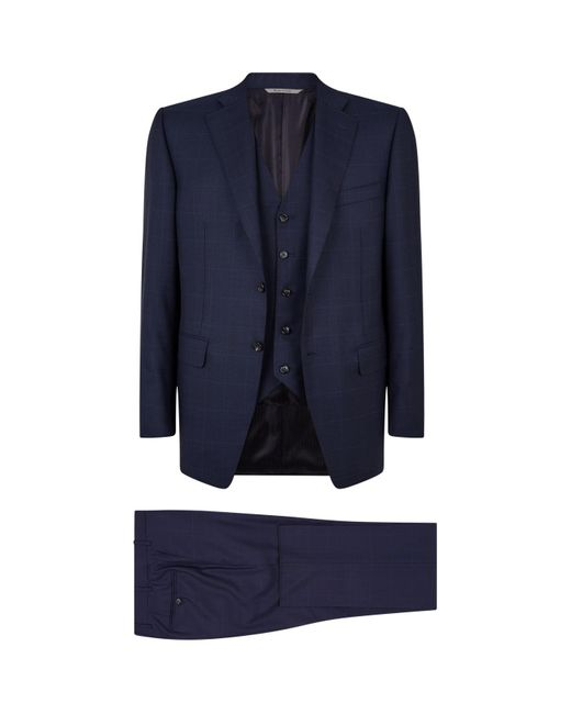 Canali Blue Super 160s Wool Three-piece Suit for men