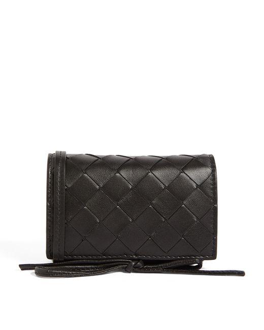 Bottega Veneta Black Leather Intrecciato Card Case for men