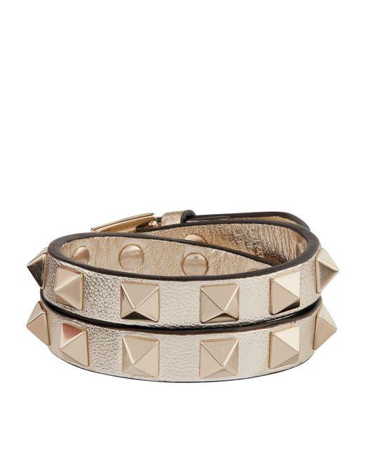 Valentino | Metallic Leather Rockstud Double-wrap Bracelet | Lyst