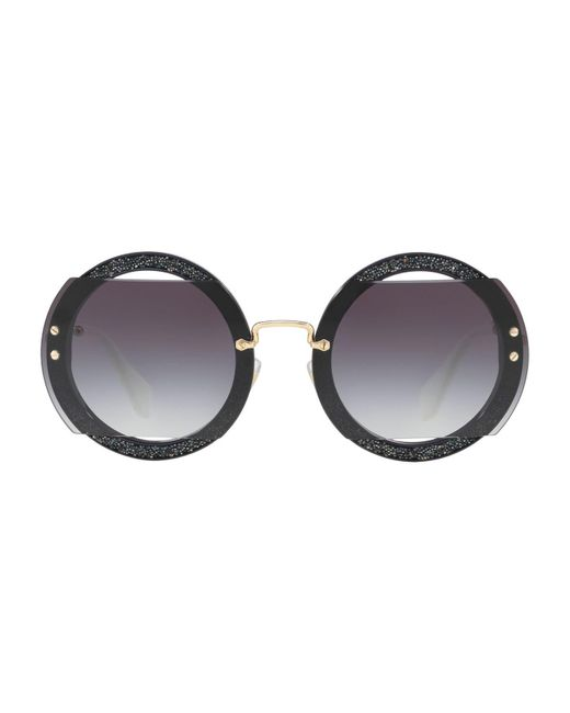 Miu Miu Gray Embellished Round Sunglasses