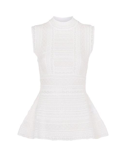 M Missoni | White Sleeveless Peplum Top | Lyst