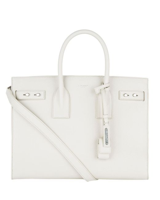 Saint Laurent - White Small Leather Sac De Jour Tote Bag - Lyst
