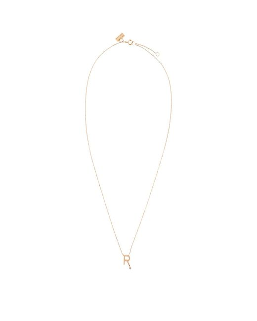Vanrycke Metallic Rose Gold And Diamond Abcdaire Letter R Necklace