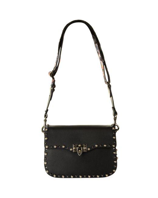 Valentino - Black Leather Rolling Rockstud Shoulder Bag - Lyst