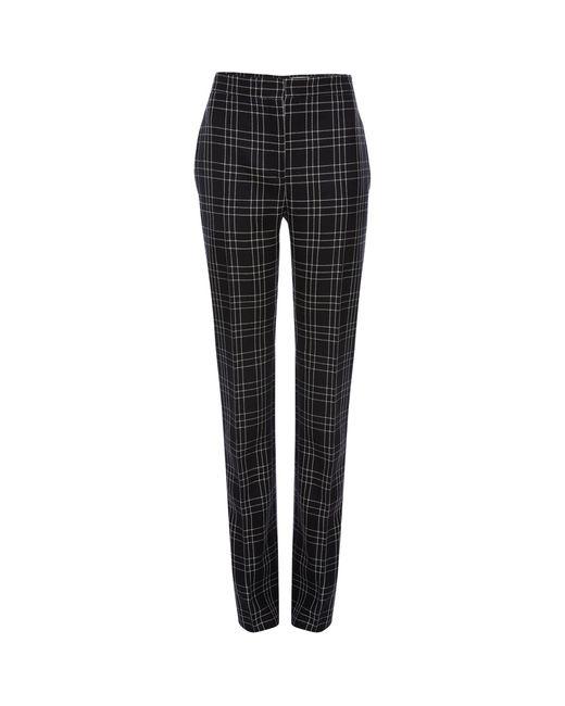 Alexander McQueen Black Virgin Wool Check Trousers