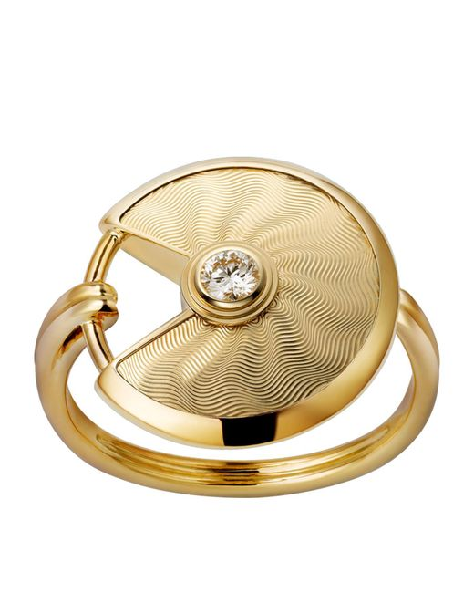Cartier - Metallic Small Yellow Gold Guilloche Amulette De Ring - Lyst