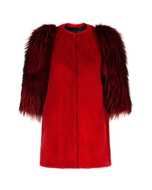 Lilly E Violetta - Red Contrast Sleeve Fur Jacket - Lyst