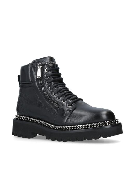 Balmain - Black Leather Army Boots - Lyst