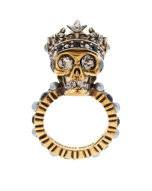 Alexander McQueen - Metallic Crystal Crowned Skull Ring - Lyst