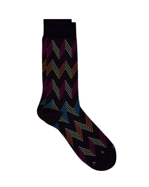 Pantherella - Blue Egyptian Cotton Zig Zag Pattern Socks for Men - Lyst