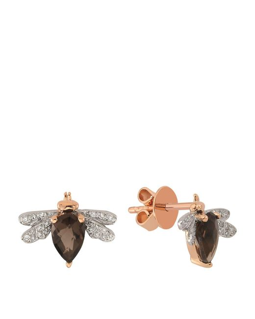 Bee Goddess - Brown Queen Bee Diamond And Topaz Earring - Lyst