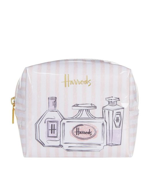 Harrods Perfume Bottles Small Boxy Cosmetic Bag In Pink