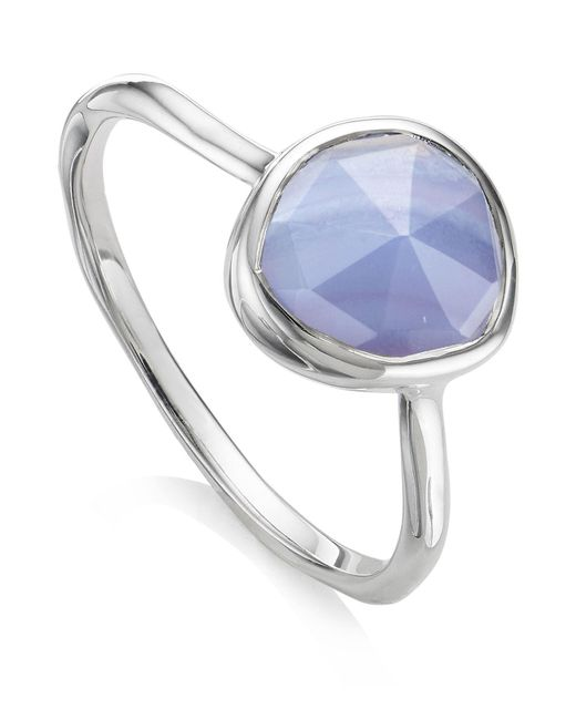 Monica Vinader - Metallic Siren Blue Lace Agate Stacking Ring - Lyst